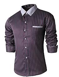 Pánské Proužky Denní nošení Dlouhý rukáv Směs bavlny Košile