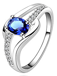 cheap -Women's Zircon Silver Plated Statement Ring - Jewelry Love Birthstones For Wedding Party Gift Daily Casual
