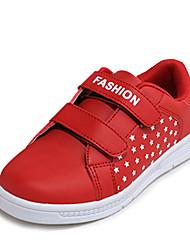Mädchen-Sneaker-Lässig-Leder-Flacher Absatz-Komfort / Rundeschuh-Rot / Weiß