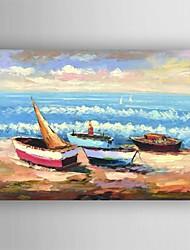 Недорогие -картина маслом современной ландшафтной лодки ручной росписью холст с растянутыми оформлена