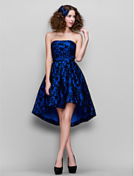 A-Line Strapless Asymmetrical Lace Homecoming Prom Company Party Dress with Lace by TS Couture®