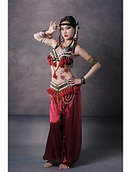 cheap -Belly Dance Outfits Women's Performance Sequined Silk Buttons Pattern/Print Tassel(s) Dropped