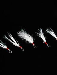 piccoli pesci bianchi piuma accessori gancio (5 pezzi)
