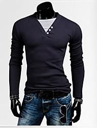 Tee-Shirt Pour des hommes Couleur plaine Décontracté Manches longues Mélange de Coton Bleu / Blanc