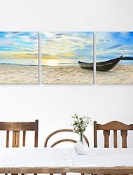 e-FOYER toile tendue art du navire amarré à la rive peinture décoration ensemble de trois
