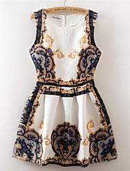 impressão digital de jacquard do vintage sem mangas fino colete vestido das mulheres