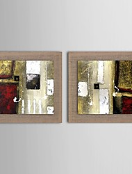 cheap -Oil Painting Modern Abstract  Set of 2 Hand Painted Natural linen with Stretched Frame