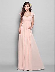 A-Line Sweetheart Floor Length Chiffon Bridesmaid Dress with Draping Ruffles Ruching by LAN TING BRIDE®