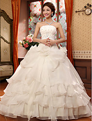 Ball Gown Strapless Floor Length Organza Wedding Dress with Beading by Embroidered bridal