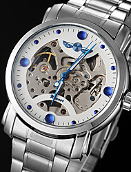 cheap -WINNER Men's Mechanical Watch Skeleton Watch Automatic self-winding Hollow Engraving Stainless Steel Band Charm Silver