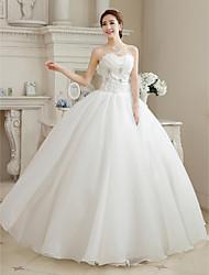 economico -Vestito da cerimonia nuziale del organza di lunghezza del pavimento dell'innamorato dell'abito di sfera con il fiore bordante