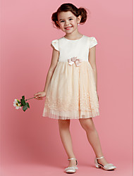 cheap -A-line Knee-length Flower Girl Dress - Polyester Jewel with Flower(s)