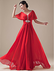 cheap -A-Line V-neck Floor Length Chiffon Satin Formal Evening Dress with Beading by Yaying