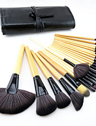 24 Stk. Make-up Pinsel aus Ponyhaar im Set, professionelle Holzgriff-Pinsel, mit Rouge / Foundation / Pder / Concealer Pinsel / Schattierung /