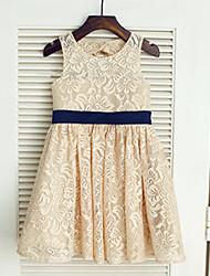 une ligne de thé longueur robe fille fleur - cravate sans cravate en dentelle avec arc (s) par thstylee