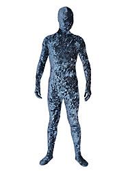 cheap -Zentai Suits Ninja Zentai Cosplay Costumes Blue Print Leotard / Onesie Zentai Velvet Men's Women's Halloween