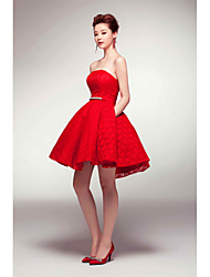 cheap -A-Line Fit & Flare Strapless Short / Mini Satin Cocktail Party Dress with Sash / Ribbon Pleats