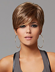 abordables -Pelucas sintéticas Recto Con flequillo Pelo sintético Parte lateral Marrón Peluca Mujer Corta Sin Tapa