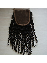 "billige -12 ""kinky krøllet brasilianske jomfru hår hår stykker snøre lukning 4"" x4 ""gratis style 1pc naturlige farve"