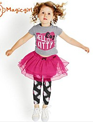 cheap -Girl's Summer Short Sleeve Kitty Printing T-shirts + Red Lace Skirt Leggings Twinsets(Cotton + Net)