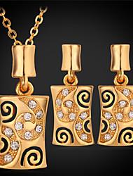 Conjunto de Jóias Cristal Strass Pedaço de Platina Chapeado Dourado 18K ouro Quadrado Dourado Branco Colares Brincos ParaCasamento Festa