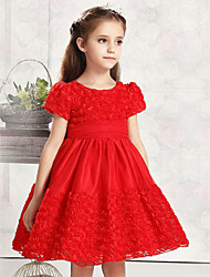 cheap -Ball Gown Knee Length Flower Girl Dress - Cotton / Tulle Short Sleeve Jewel Neck with Ruffles / Pleats by 21KIDS