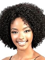 billige -Syntetiske parykker Krøllet / Kinky Curly / Løst, bølget hår Assymetrisk frisure / Mellemdel Syntetisk hår 10 inch Natural Hairline / Afro-amerikansk paryk Sort Paryk Dame Kort Lågløs Sort