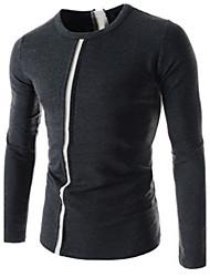economico -MEN - T-shirt - Informale Rotondo - Maniche lunghe Tela