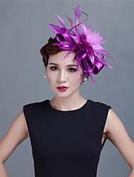 economico -fascinator in raso da sposa / partito per donna con piume stile elegante