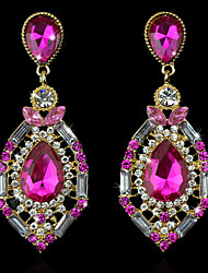 cheap -Women's Luxury Crystal Synthetic Diamond Rhinestone 18K Gold Plated Stud Earrings Drop Earrings - Luxury Fashion European Green Pink