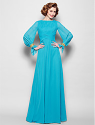 cheap -A-Line Bateau Neck Floor Length Chiffon Mother of the Bride Dress with Pleats by LAN TING BRIDE®