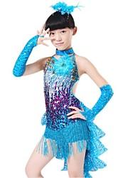 Latin Dance Outfits Children's Performance Polyester Lycra Sequins Tassel(s) Sleeveless Natural Dress Gloves Neckwear