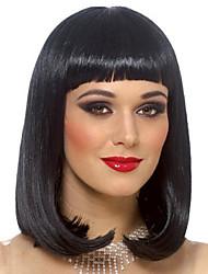 Недорогие -жен. Парики из искусственных волос Короткий Кудрявый Черный парик Костюм Парики к костюмам