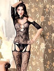 cheap -Women's Gartered Lingerie Lace Lingerie Ultra Sexy Teddy Nightwear Nylon Spandex Black
