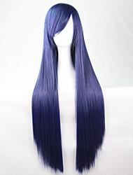 Недорогие -Парики из искусственных волос Жен. Прямой Синий Ассиметричная стрижка Искусственные волосы 28 дюймовый Природные волосы Синий Парик Длинные Без шапочки-основы Темно-синий