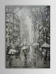 economico -iarts coppie pittura a olio di paesaggio moderno in bianco e nero rainning mano strada tela dipinta con telaio allungato
