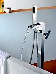 Недорогие -Смеситель для ванны - Современный Хром Установка на полу Керамический клапан Bath Shower Mixer Taps / Одной ручкой одно отверстие