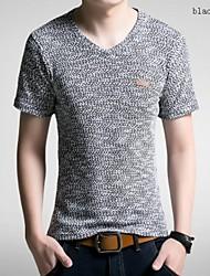 Tee-Shirt Pour des hommes Couleur plaine Décontracté Manches Courtes Coton / Polyester Noir / Marron / Vert / Beige