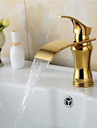 cheap -Contemporary Art Deco/Retro Modern Centerset Waterfall Ceramic Valve Single Handle One Hole Ti-PVD, Bathroom Sink Faucet