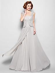 Linha A Decote Quadrado Longo Chiffon Vestido Para Mãe dos Noivos - Miçangas Pregueado de LAN TING BRIDE®