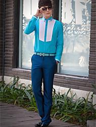camicia bianca / azzurra del bicchierino del manicotto del cotone / poliestere del collo classico / semicoperta per i vestiti