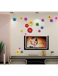 adesivi da parete decalcomanie, stile romantico crisantemo adesivi murali in pvc