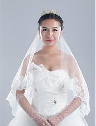 Uma Camada Borda com aplicação de Renda Véus de Noiva Peça para Cabeça com Véu Com Apliques 59,06 in (150cm) Tule