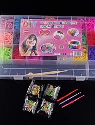 Недорогие -baoguang®loom полосы случайным цветные полосы установлен (4200pcs резинки, зажимы Пакет 4 S, 1looms, 3 крюк + 1 бокс)