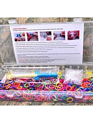 Недорогие -1200pcs Радуга цветов ткацкий станок стиль силиконовый ремешок упругие браслеты полосы, 1 ткацкие станки, 1hook + 1box