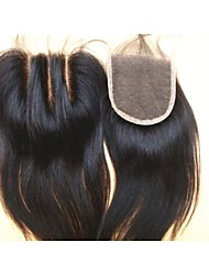 "cheap -Brazilian Virgin Hair Natural Colour Hair Pieces Lace Closure 3.5""x4"" Natural Straight 3 Part"