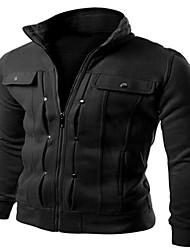 Недорогие -Мужской Хлопок / Смесь хлопка Куртка На каждый день,Однотонный,Длинный рукав,Черный / Коричневый / Белый / Серый