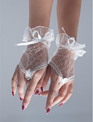 cheap -Polyester Net Wrist Length Glove Classical Bridal Gloves Party/ Evening Gloves With Solid