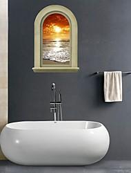 Недорогие -3d наклейки для стен наклейки на стены, природный ландшафт наклейки ванной росписи декора стены PVC