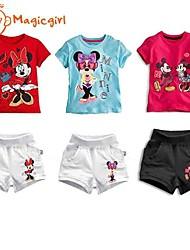cheap -Girl's Summer Short Sleeve Cartoon Design T-shirts + Short Pants Casual Twinsets(Cotton)